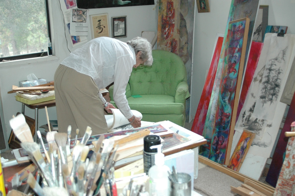 At Work in her Idyllwild studio . . .